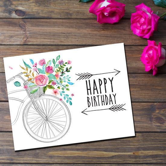 Happy Birthday Greeting Card - Flowers, Bicycle by Thingsforasmile on Etsy
