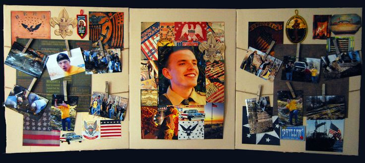 Raw artist canvases (no gesso) with photos of Tim in the center and Eagle project on side panels. Accents are scout patches, scrapbook paper, and photos from a Mary Emmerling Americana flag book.