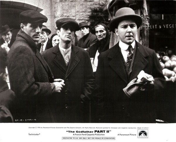 Vito Corleone (Robert De Niro) with Clemenza (Bruno Kirby) and Tessio (John Aprea) in The Godfather: Part II (1974)