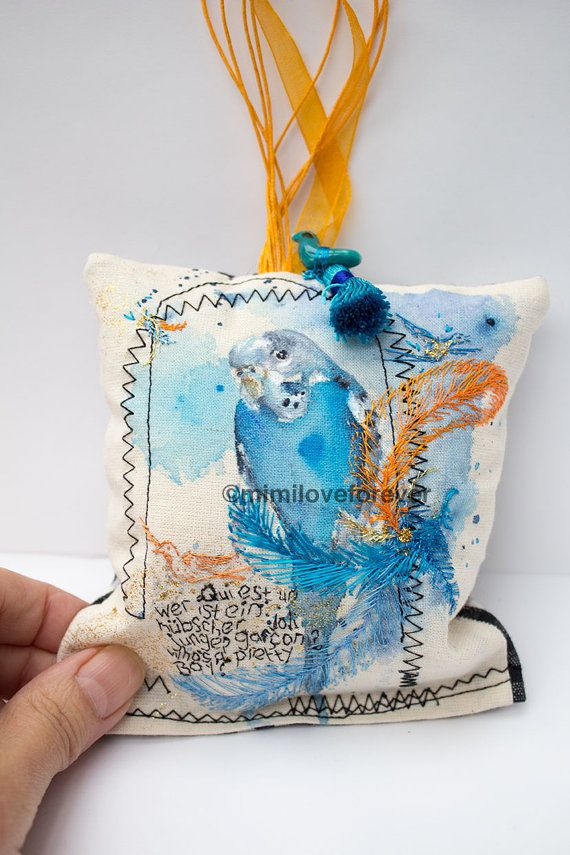 Ornamental Hanging Bird Decoration.  Unique Eclectic Gift.