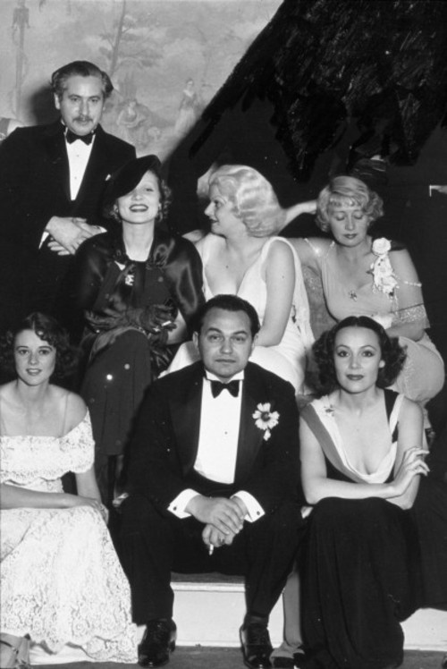 A glittering assembly of Hollywood stars: Josef Von Sternberg (famed director), Marlene Dietrich, Jean Harlow, Joan Blondell, Edward G Robinson and Dolores del Rio