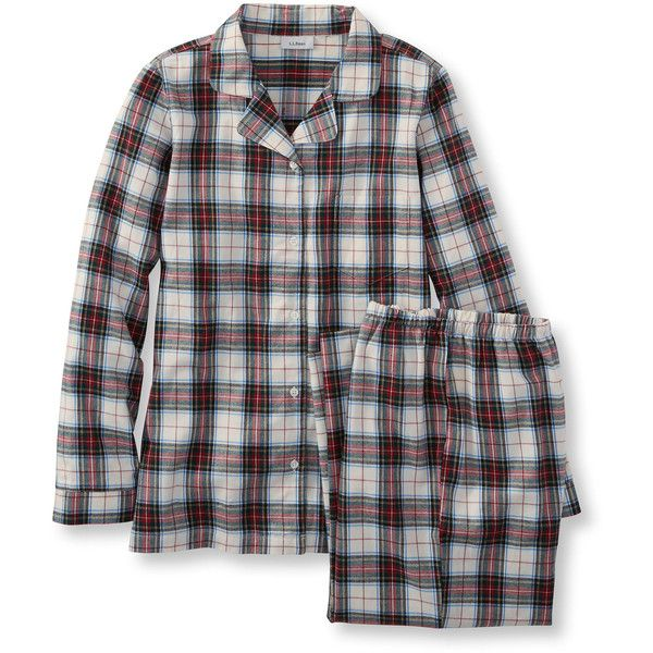 L.L.Bean Women's Tartan Flannel Pajama Set  Misses Petite ($60) ❤ liked on Polyvore featuring intimates, sleepwear, pajamas, button front pajamas, petite sleepwear, petite pajamas, plaid flannel pajamas and holiday pjs
