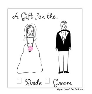 Bride & Groom Gift Stickers-Stick figure Folded Notes