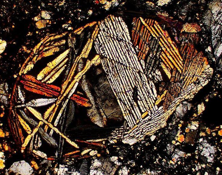 NWA 980 meteorite thin section viewed through a polarizing microscope