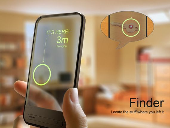 Finder is a conceptual app that helps you find misplaced items. All you have to do is apply a RFID sticker to anything you could possibly lose (keys, wallet, virginity, chapstick, baby) and label it through the program on your smartphone. When you type in the name of the missing object, Finder will indicate where it is in relation to you.