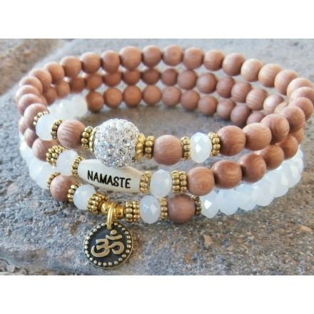 Set of 3 Yoga bracelets, choose word, Om, Swarovski, Rosewood beads, Namaste, Breathe, wrist mala, Meditation, Reiki Charged, free shipping | Life Force Energy Shop