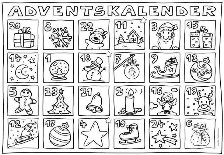 Adventskalender zum Ausmalen  Auch dieses Jahr gibt es wieder einen Adventskalender  zum Ausmalen für meine Klasse. Für jeden Tag gibt es e...