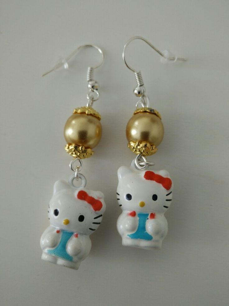 Boucles d'oreille perles dorées hello kitty #diy #french #earring