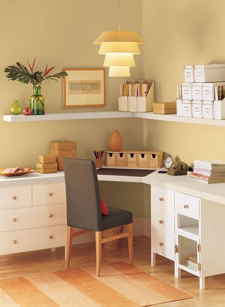 Benjamin Moore Paint Colors - Yellow Home Office Ideas - Invitingly Contemporary Home Office . . . . . Walls of Dark Beige (2165-40) anchor this contemporary corner space. . . . . . Walls - Dark Beige (2165-40); Shelves - Subtle (AF-310); Accent (chair upholstery & desk pad) - French Press (AF-170).