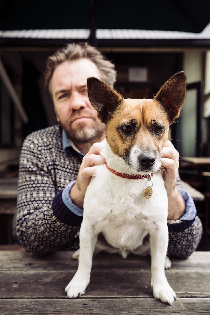 Actor Brendan Cowell with Lucky Jim at Sydney pub, the Courthouse Hotel