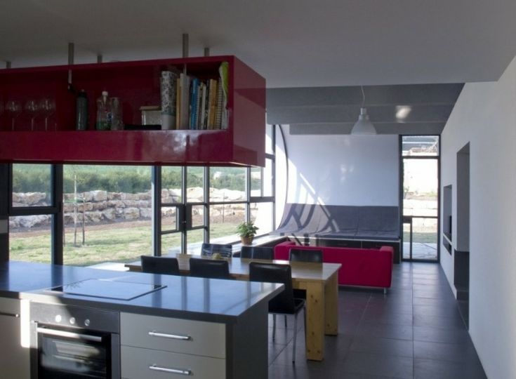 Unique Contemporary Home Design With Modern Interior: Inspiring Beam House  With Red Kitchen Cabinets Also Metal Kitchen Islands And Silver O.