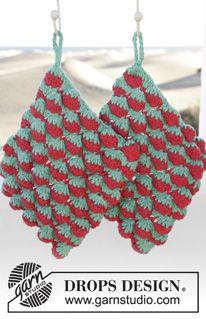 """Strawberry Drizzle - Heklet DROPS gryteklut i """"Paris"""" med jordbær. - Gratis oppskrift by DROPS Design"""