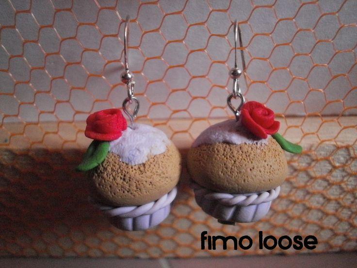 fimo polymer clay orecchini earrings cupcake