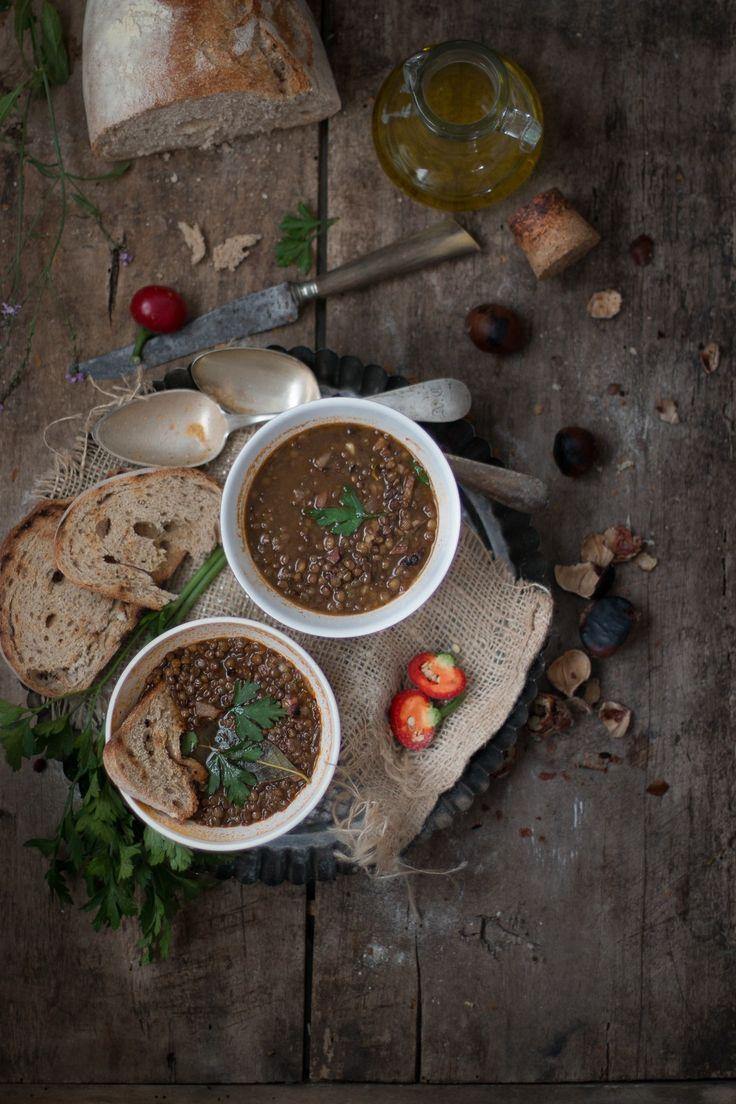 Zuppa di lenticchie e castagne
