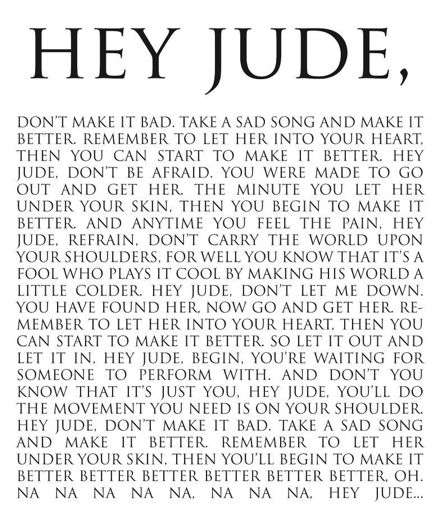"16"" x 20"" hey Jude lyric print -> turn you or your child's favorite song into a piece of art!    $50 framed, $35 print only"