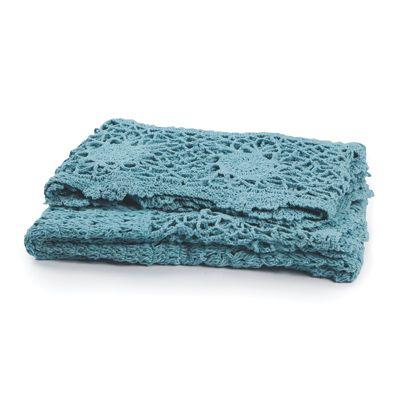 130x180cm Crochet Throw Aqua