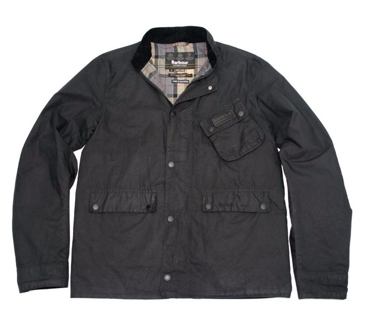 Barbour International Ouston Sylkoil waxed cotton coat motorcycle jacket Large #Barbour #Motorcycle