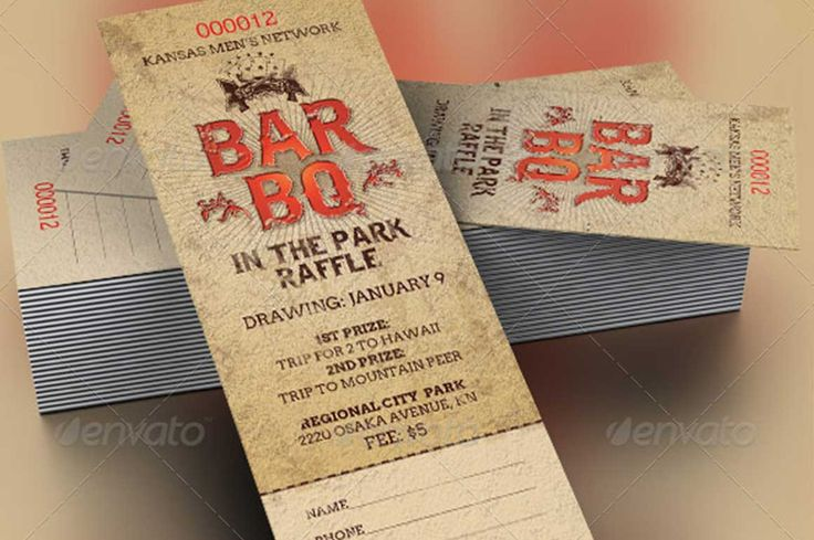 BarBeQue Raffle Ticket Template can be used for fundraising ventures or events. Designed with a western retro style that can fit most fun occasions.