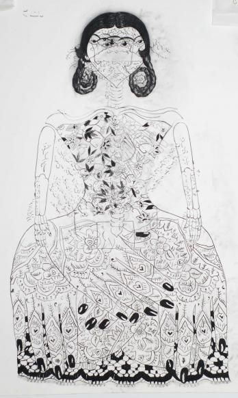 Samira Abbassy - Intangible Threads 2011 charcoal on paper