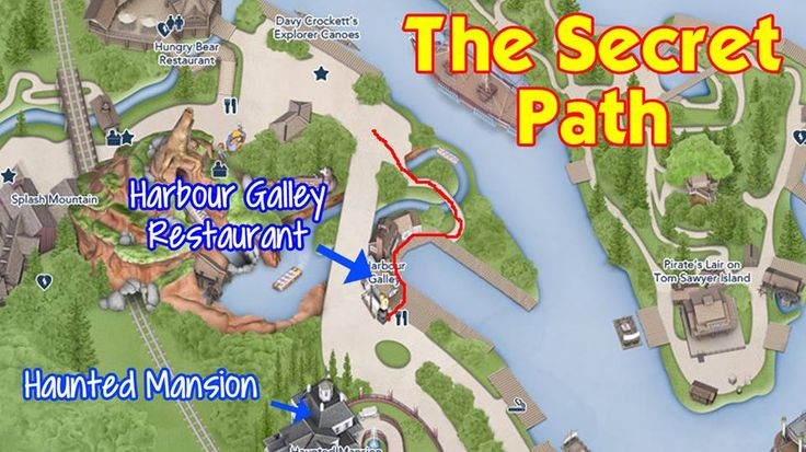 "There is a secret path in Critter Country that most tourists don't know about. As you'll see in the pics, it looks like ""cast member only"" territory. If you walk through it, you'll find a nice little eating area, a quiet bridge and a good photo op in front of Splash Mountain."