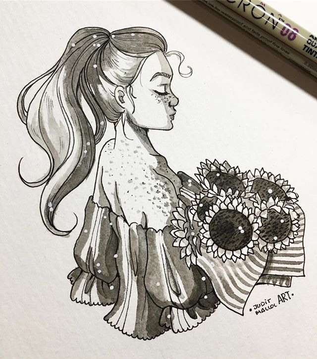 Instagram photo by juditmallolart - #inktober day 26!  Sunflowers and sun kissed skin
