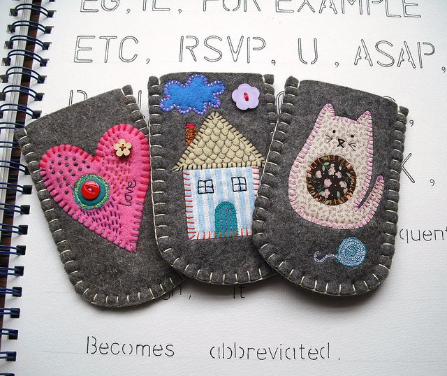 ipod, phone, etc.   you could personlized to someones hobby or tastes...so cute    Smaller Gadget Sleeves Collection by suezybees, via Flickr