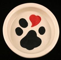 Heart on Paw Dog Bowl