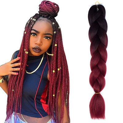 "24"" Black/Wine Red Jumbo Braids Hair Ombre Synthetic Braiding Hair Extension 