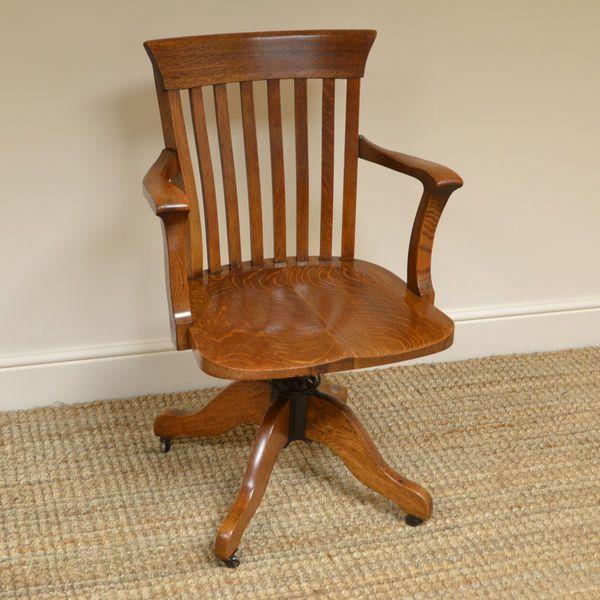 Antique Swivel Office Chair Diy Wooden Edwardian Oak Antique