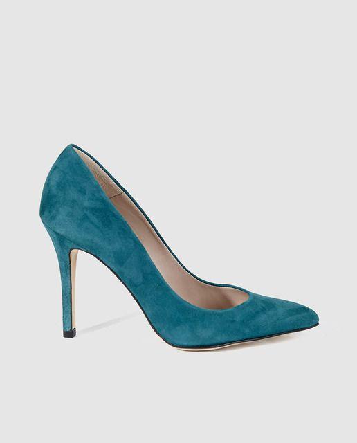 Zapatos de salón de tacón de mujer de piel verdes