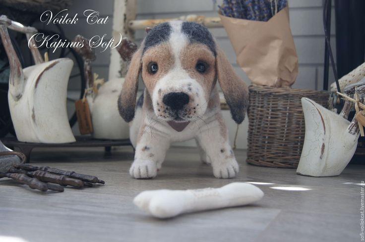 Купить Бигличек Мадлен - коричневый, щенок, мишка тедди, собачка тедди, коллекционная кукла, бигль