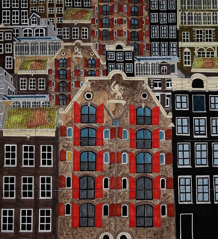 Ceramic tile painting in two panels 100 x 90cm Virginia Arregui