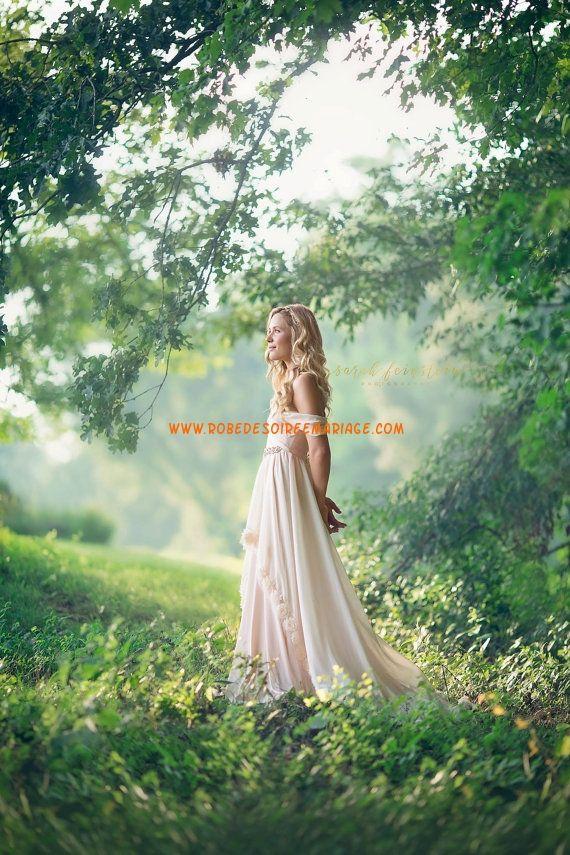 Robe de mariage mousseline princesse foret