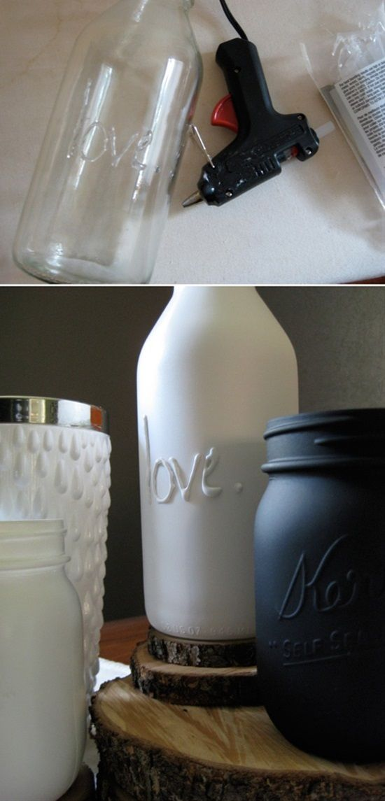 Beautiful Vases With Glue Gun And Spray Paint
