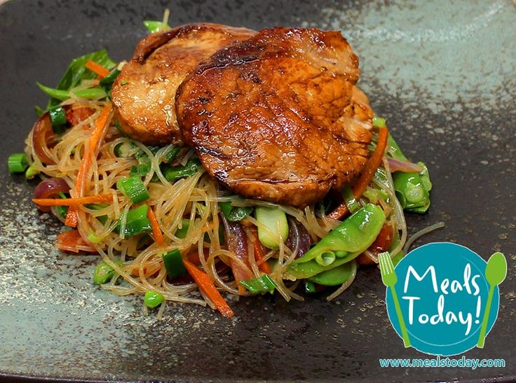 Malaysian Pork Steaks with Vegetable Stir Fry & Noodles  Available to order now, for delivery on Tue 9th September  www.mealstoday.com    #mealstoday