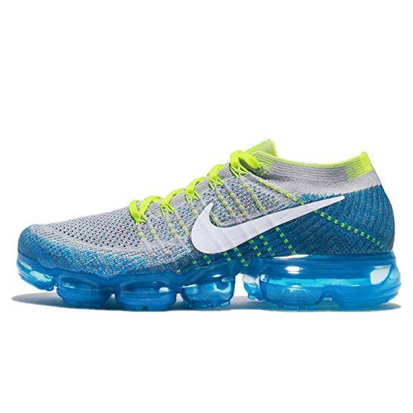 premium selection e4b27 c1a93 Amazon.com   Nike Men s Air Vapormax Flyknit, Wolf Grey White-Chlorine  Blue, 10 M US   Road Running