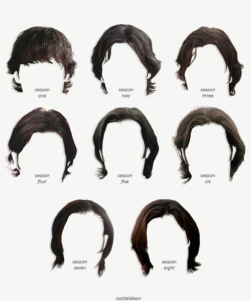 Sam Winchester's hair: Seasons 1-8~ His hair has become longer and more luscious with each season.
