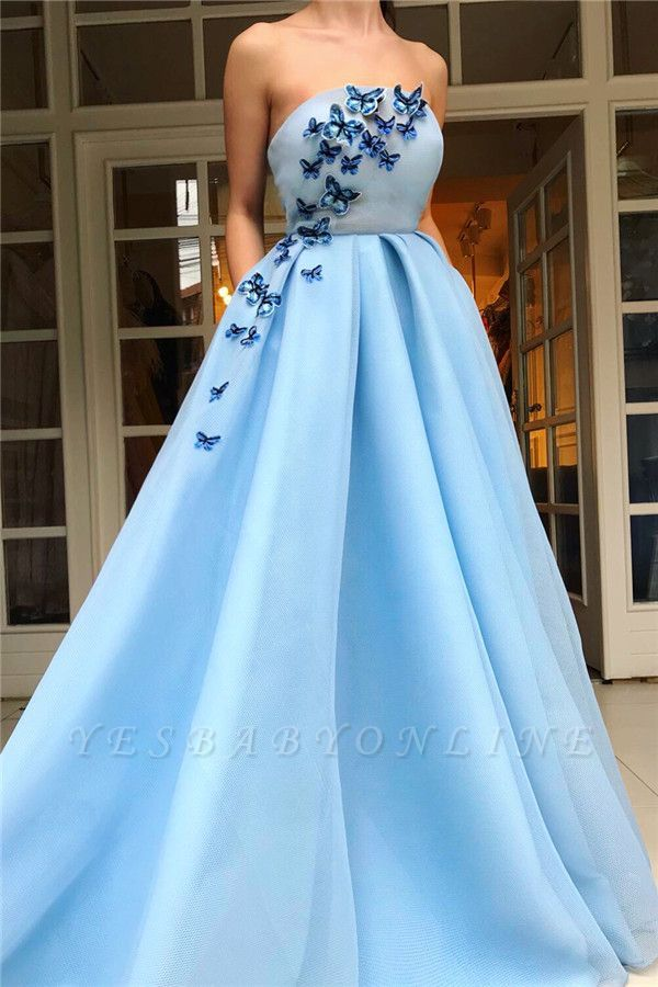 Yesbabyonline.com is offering sexy prom dresses, evening dresses and formal dresses online. Visit and shop Simple Strapless Sleeveless Blue Tulle Prom Dress | Chic Ruffles Long Prom Dress with Butterfly!