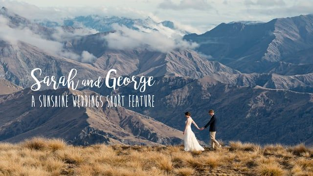 Sarah and George's Queenstown wedding at Chapel by the Lake, Stoneridge Estate with a helicopter flight to high up in the Southern Alps.  Photography and film by Sunshine Weddings  www.elopementweddings.co.nz