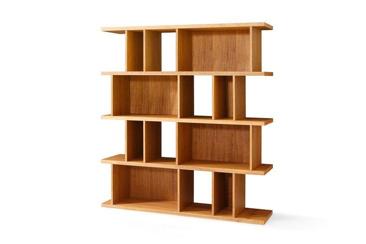 Etagère bibliothèque design scandinave en bois Bâle Berra de profil
