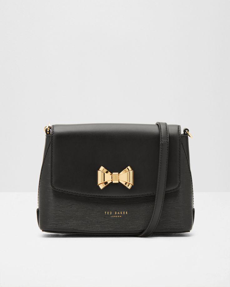 Bow detail leather cross body bag - Black | Bags | Ted Baker UK