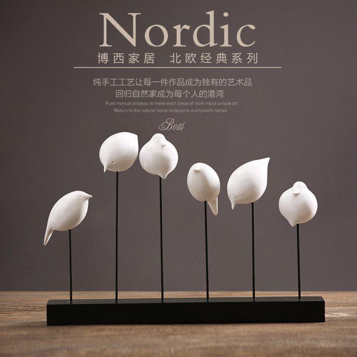wooden ornaments resin bird living room became the six head bird Home Furnishing desktop decoration decoration