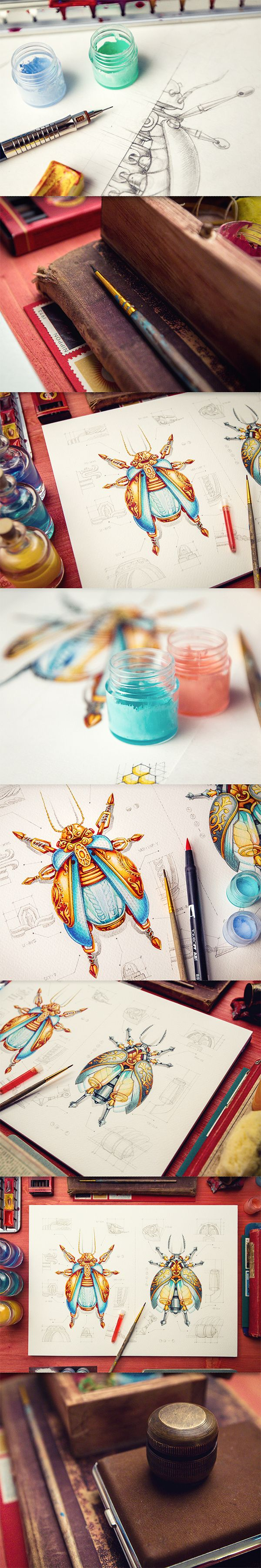 Various works by Mike, via Behance