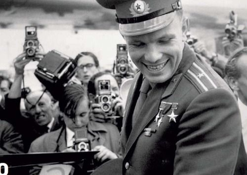 "Yuri Gagarin dodging the paparazzi. There's that famous smile- ""Warm enough to thaw the Cold War."""