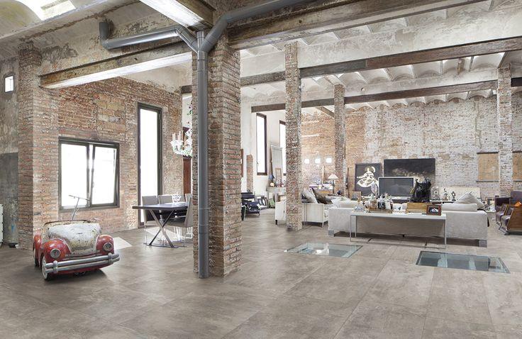 Loft dont le sol a t r alis en carrelage aspect b ton for Carrelage urban white
