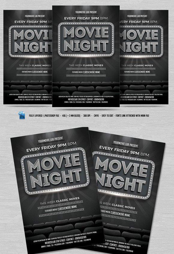 1655 best Flyer Templates images on Pinterest Flyer template - movie night flyer template