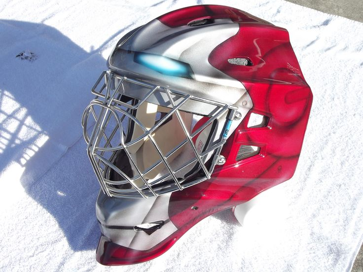 Iron Man goalie mask airbrushed for customer while back ...