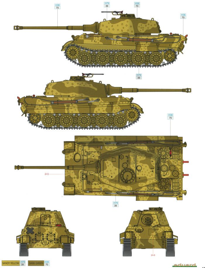 King tiger ausf b two color camouflage profile and