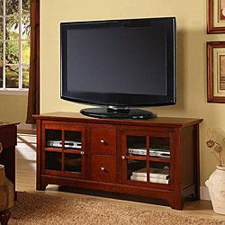 without style this durable wood tv stand supports most flatpanel tvs up to 55 inches