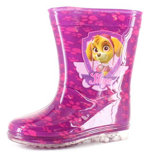 From 7.50:New Younger Girls/childrens Pink Paw Patrol Skye Pvc Wellington Boots. - Pink - Uk Size 5